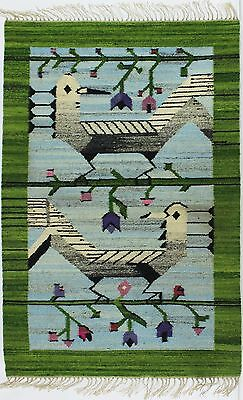 A hand loomed 1970's bird rug/wall hanging. Cepelia Polish folk art Green & blue