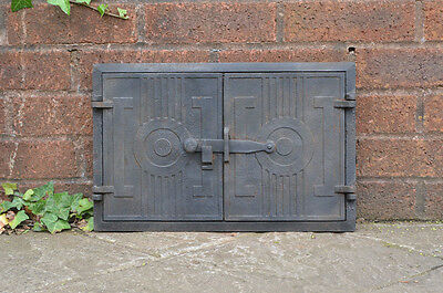 42.5 x 27.3 cm old cast iron fire bread oven door doors flue clay range pizza