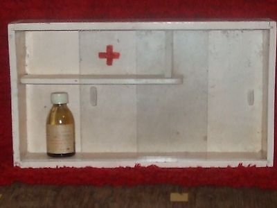 Rare! Vintage Old Wooden Medicine Apothecary Wall Cabinet