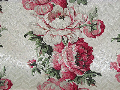 Cabbage Roses & Peonies 1930's Vanilla Damask VTG Barkcloth Fabric Drape Curtain