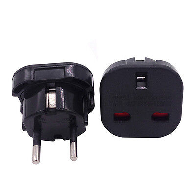 Travel UK to EU Euro Plug AC Power Charger Adapter Converter Socket Black Sales