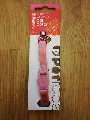 Petface Reflective Safety Clip Snap Off Cat Collar Pink With Bell Cat Face