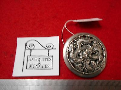 Broche Ronde Argent Massif 2 Dragons - Silver - Ref20653