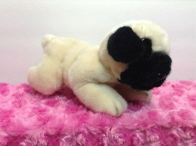 "Russ Small 8"" Black And Cream The Pug Puppy Dog Plush Soft Stuffed Animal"