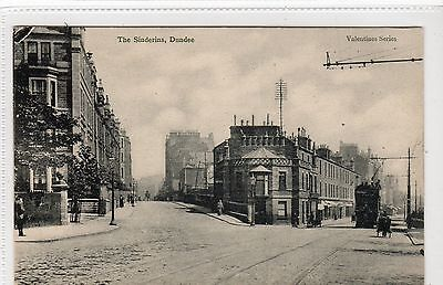 THE SINDERINS, DUNDEE: Angus postcard with tram (C11816)