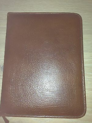 Vintage leathersmith real leather writing case Brown With Calendar And Address