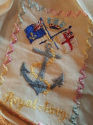 WW1 Silk embroidered ROYAL NAVY handkerchief / Square