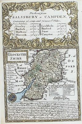 OLD ANTIQUE MAP GLOUCESTERSHIRE by OWEN /  BOWEN c1740's 18th CENTURY ENGRAVING