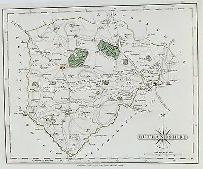 OLD ANTIQUE MAP RUTLAND c1793 by J CARY ENGRAVING ORIGINAL OUTLINE COLOUR