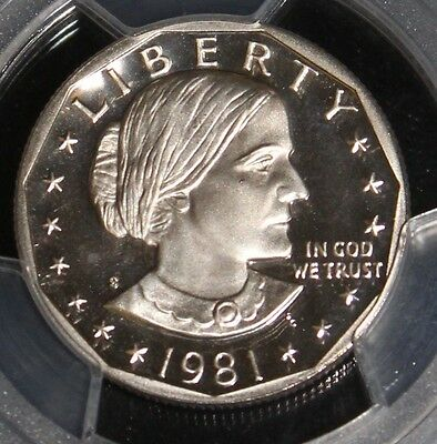 1981 S Deep Mirror Proof Cameo Type 2 PCGS Graded Susan B Anthony Dollar
