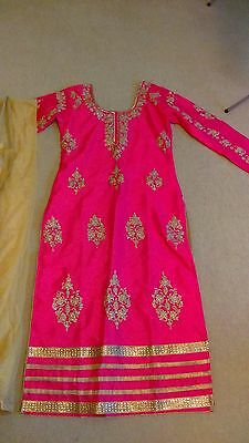Pakistani Indian Asian Bright Pink Dress Trouser Suit (Salwar Kameez)