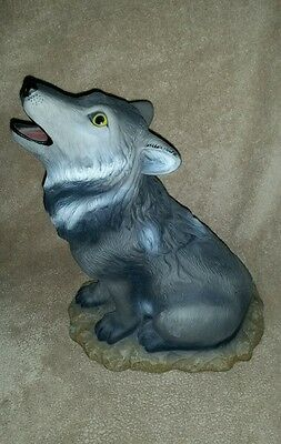Howling Wolf Large Statue Wolves Decor - Gray - New