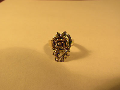 A vintage 'rose' sterling silver ring