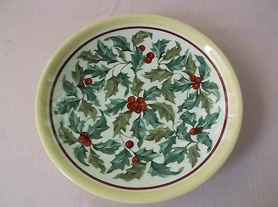 Longaberger Pottery Plate w/Holly Berries