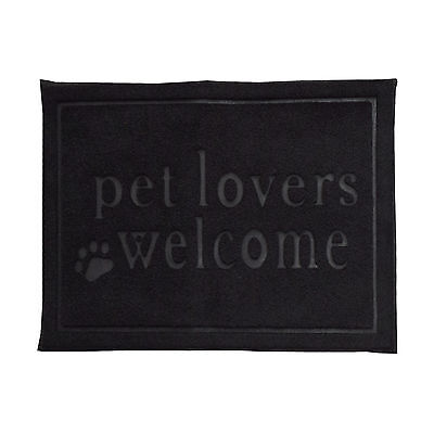 Tapis Alimentaire Paillasson Polyester Noir Rectangulaire Alimentation Animaux