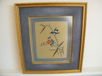 Pair of Vintage Asian Embroidered Bird Art