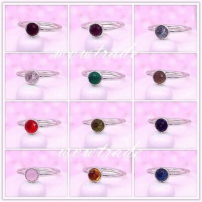 925 Sterling Silver Droplet CZ Birthstone Ring Size 7 (54) Fit European Charm