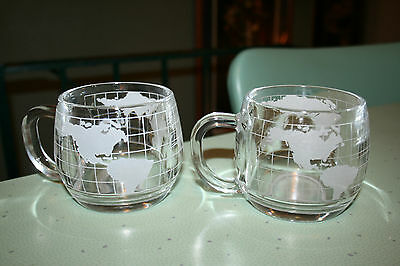Vintage Nestle Nescafe Etched Frosted World Globe Glass Mugs Cups Set of 2