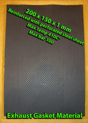Exhaust Gasket Material Sheet 20x15cm 1mm thick Reinforced with perforated steel