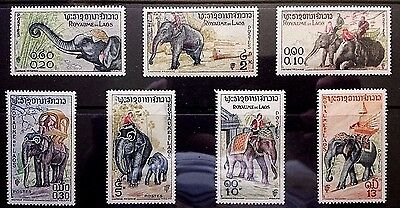 Laos 1958 Sc# Sc 41-47 Asian Elephant complete set MNH OG XF (D-75)