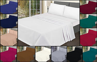 Quality Brand Polycotton Flat Sheets Bedding Single Double King low less price