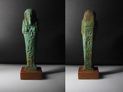 JFF - Nice Ancient Egyptian Faience Shabti / Hieroglyphics on the front and back