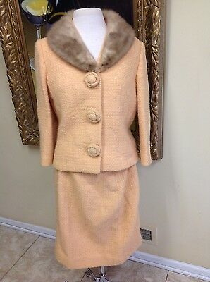 Vintage 2PC Wool Suit Mink Collar Size M