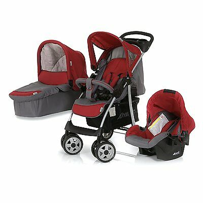 New Hauck shopper Trio Travel System pushchair Carrycot Carseat  in Smoke/Tango