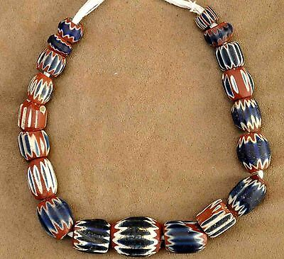 Antiquity Huge Italy c.1490 Venetian Murano 7-Layer Chevron Drawn-Glass Beads