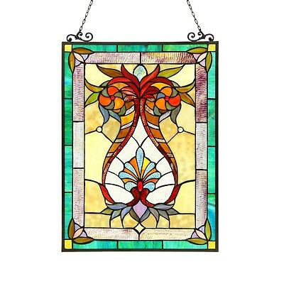 "Handcrafted Tiffany Style Stained Glass Window Panel 17.5"" X 25"" 179 PC Glass"