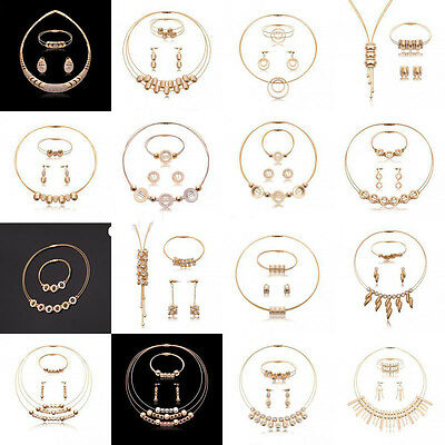 Gold Crystal Statement Necklace Collar Earring Bracelet Bride Jewelry Set