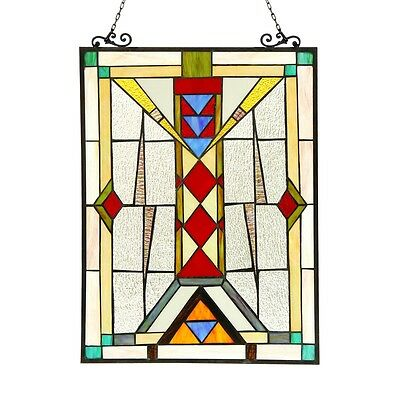 "Stained Glass Tiffany Style Window Panel Modern Mission Design 17.5"" x 25"""