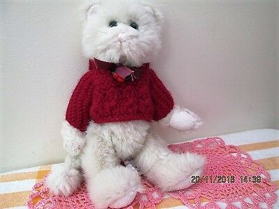 "Boyds Archive Collection 9"" Jointed Cat??? In Red Jumper/green Eyes Vgc"