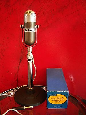 Vintage 1960's Calrad DM-15 dynamic microphone pill Japanese old RCA w stand