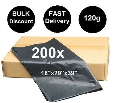 200x BLACK MEDIUM DUTY REFUSE SACKS BIN BAGS WASTE BIN LINERS RUBBISH BAG 120G