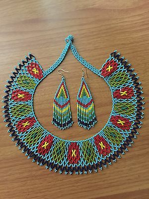 huichol Beaded necklace With Earrings Included
