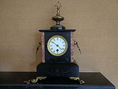 Lovely antique marble and slate clock full working order with key non chiming