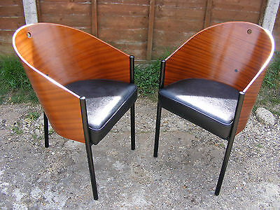 Pair Retro 80's Cafe Costes Chairs Armchairs by Philippe Starck for Driade Aleph