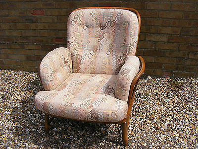 Vintage Retro Style Ercol Jubilee Stick Back Armchair Arm Chair with Cushions