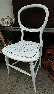 Industrial Vintage Victorian balloon back white Restaurant Wooden Chair old wood