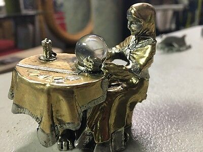 Pewter ( Gold And silver colorations ) 1985 Fortune Teller Figurine