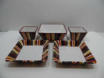 """Pampered Chef Simple Additions Striped 1 Lg & 2 Sm Square Bowls 2 7"""" Snack Plate"""