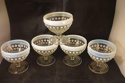 Rare Vintage Fenton Hobnail Art Glass Moonstone X5 Sundae Bowls Fruit Dishes