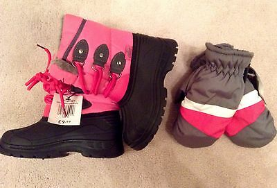 Girls Pink Snow Boots and Mittens Set - Size 9 Boots Age 4-5 Mittens - BNWT