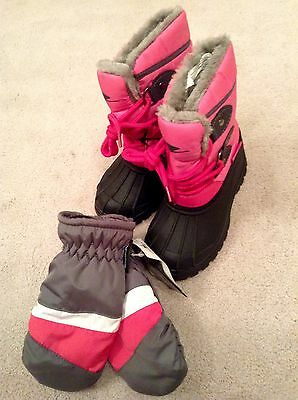 Girls Pink Snow Boots and Mittens Set - Size 11 Boots Age 4-5 Mittens - BNWT