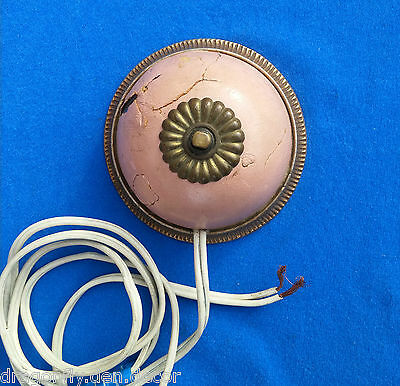 RARE 1930 Original Electric Wire Brass Push Button Call Switch SHABBY CHIC Pink