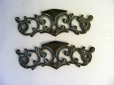 Lot of 2 Antique Brass Dresser Back Plates For Pulls-No Eye Bolts No Pulls-H0126