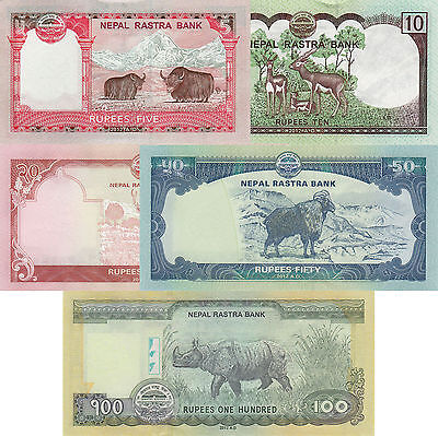 Nepal 5 Note Set - 5 to 100 Rupees (2012), p69-p73