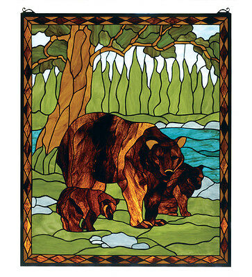 "Meyda Lighting 72935 25""W X 30""H Brown Bear Stained Glass Window"