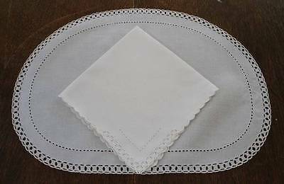 Vintage Madeira Linen Placemats Napkin Set Compasswork Embroidery Ceamy White